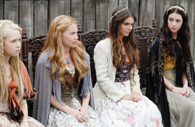 "Jenessa Grant as Aylee, from left, Celina Sinden as Greer, Caitlin Stasey as Kenna, and Adelaide Kane as Mary, Queen of Scots star in The CW's ""Reign."" (Marni Grossman/Courtesy The CW/TNS)"